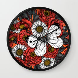 White butterfly and roses  Wall Clock