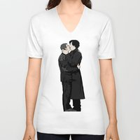 johnlock V-neck T-shirts featuring Kissing Sherlock and John by br0-harry