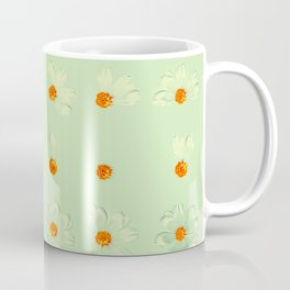 Mint Green Whimsical Real Daisy Flowers Pattern Coffee Mug
