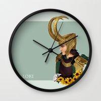 loki Wall Clocks featuring Loki by tsunami-sand