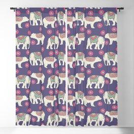 Vintage ethnic Indian elephant wild bear Blackout Curtain