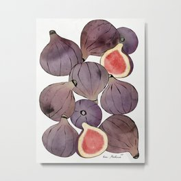 figs still life botanical watercolor Metal Print