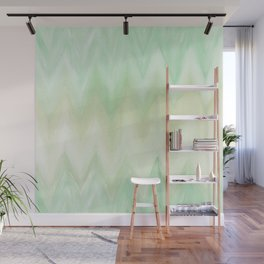 Hand painted mint green watercolor gradient chevron ikat Wall Mural