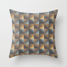 Industrial Urban Geometric Pattern in Burnished Gold & Steel Blue Throw Pillow