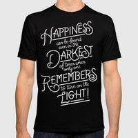 Happiness can be found Black MEDIUM Mens Fitted Tee