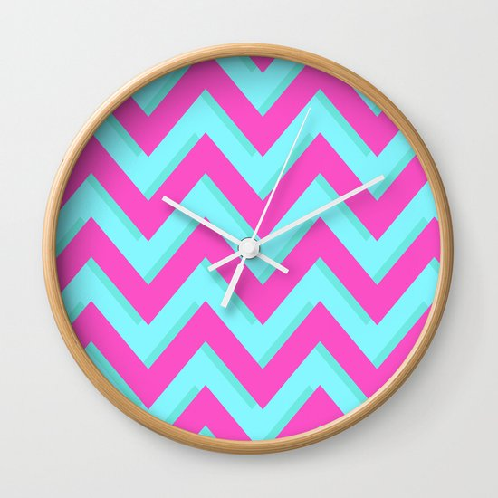 3D CHEVRON TEAL & PINK Wall Clock