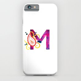 Paisley monogram letter M iPhone Case