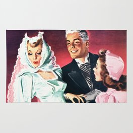 Vintage Illustration Wedding of Bride and Groom Rug