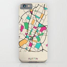 Colorful City Maps: Austin, Texas iPhone Case