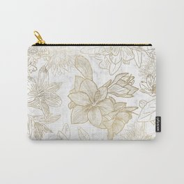 Elegant modern white faux gold marble floral Carry-All Pouch