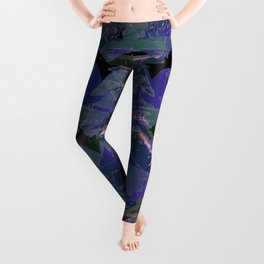Blue Ombre Heart and Cold Kisses Pattern On Black Leggings