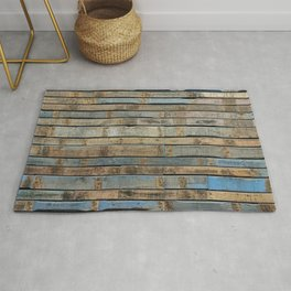 distressed wood wall - Blue and brown planks Rug