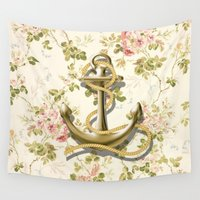 shabby chic Wall Tapestries featuring romantic vintage anchor shabby chic floral by chicelegantboutique