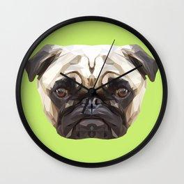 Pug // Green Wall Clock