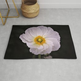 White with Yellow Center  Poppy by Reay of Light Photography Rug