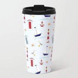 Nautical Pattern (Marine Pattern) - Blue Red White Travel Mug