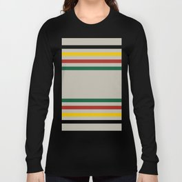 Rustic Lodge Stripes Black Yellow Red Green Long Sleeve T-shirt