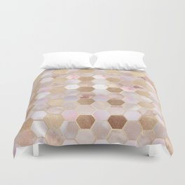 Hexagonal Honeycomb Marble Rose Gold Duvet Cover