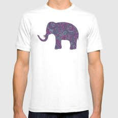 Paisley Elephant Mens Fitted Tee White MEDIUM