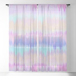 Pastel Rainbow Tie Dye Print Sheer Curtain