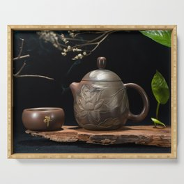 Japanese Teapot with Lotus Blossom Flower Serving Tray