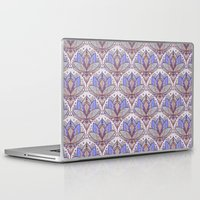 bedding Laptop & iPad Skins featuring Art Deco Lotus Rising 2 - sage grey & purple pattern by micklyn