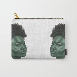 Green elegant monochrome female portrait Carry-All Pouch