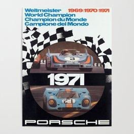 Vintage 1971 racing Poster Poster