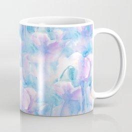 Pink flowers on blue background / Watercolor. Coffee Mug