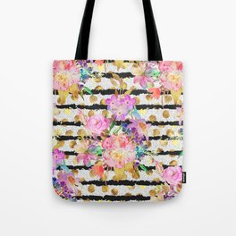 Elegant spring flowers and stripes design Tote Bag