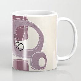 Retro Abstract Design in Mauve and Mulberry Coffee Mug