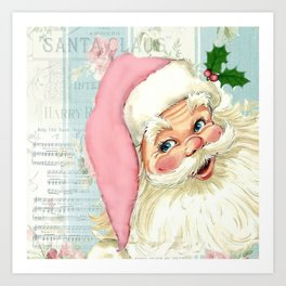 Retro Santa with music Art Print