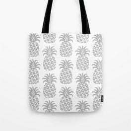 Retro Mid Century Modern Pineapple Pattern Gray Tote Bag
