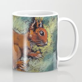 A squirrel with a bushy tail on a twig with a nut in its paws. Pastel drawing. Coffee Mug