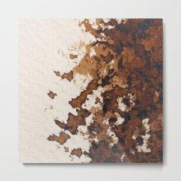 Dark brown aquarelle painting cowhide cow fur Metal Print