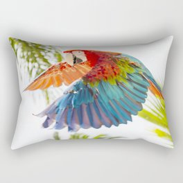 Colorful macaw flying Rectangular Pillow