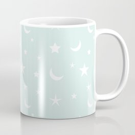 White moon and star pattern on baby blue background Coffee Mug