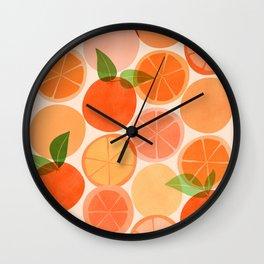 Sunny Oranges / Tropical Fruit Illustration Wall Clock