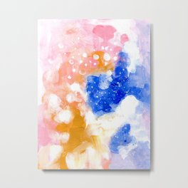 Ejaaz Haniff Colorful Abstract Acrylic Painting Pastel Fun Colors Yellow Blue 'Pink Candy Heaven' Metal Print
