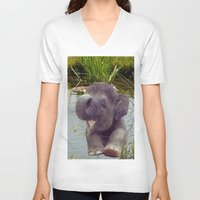 baby elephant V-neck T-shirts featuring Baby Elephant by Erika Kaisersot