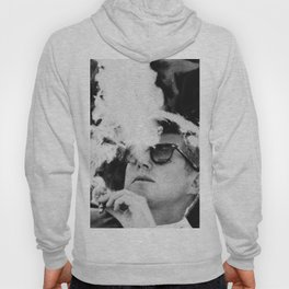 John F Kennedy Cigar and Sunglasses Black And White Hoody
