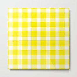 Plaid Canary Yellow Metal Print