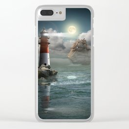 Lighthouse Under Back Light Clear iPhone Case