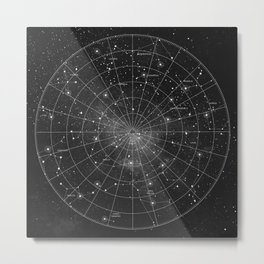 Constellation Star Map (B&W) Metal Print