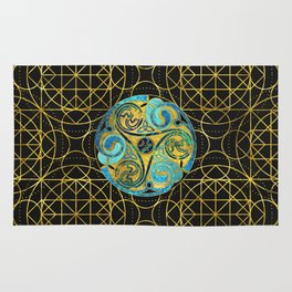 Decorative Triquetra Celtic Ornament Rug