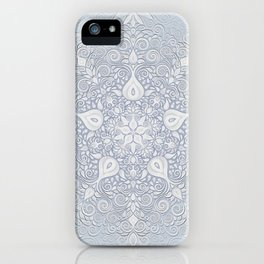 Baroque Garden, White on Blue, Watercolor Ornate Pattern iPhone Case
