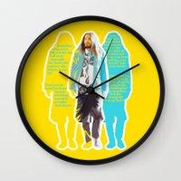 jared leto Wall Clocks featuring Jared Leto and his wisdom  by Olga Panteleyeva
