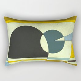 Sailing on the Sea, Geometric Gold and Blue Rectangular Pillow
