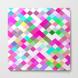 geometric square pixel pattern abstract in pink green yellow blue Metal Print