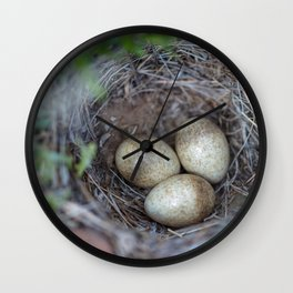 Horned lark nest and eggs - Yellowstone National Park Wall Clock